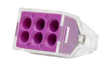 Зажим втычной 6-гнезд фиолетовый макс.сечение 2,5 кв.мм 24 А (1пакет/50шт)