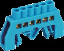 Шинка нулевая латунная универсальная 6х9мм 8 отв. Цвет синий
