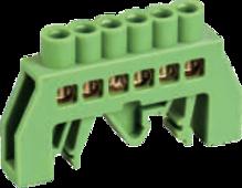 Шинка нулевая латунная универсальная 8х12мм 6 отв. Цвет зеленый