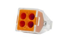 Зажим втычной 4-гнезда оранжевый макс.сечение 2,5 кв.мм 24 А (1пакет/50шт)
