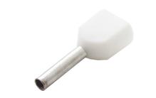 Наконечник штыревой втулочный изолир. двойной сечение 0,5 кв.мм длина 8мм цвет белый (1пакет/50шт)
