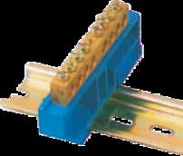 Шинка нулевая латунная на Din-опоре 6х9мм 6 отв. Цвет синий