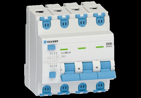 Автоматический выключатель дифф.тока D06 4р C63 30 мА электрон. тип АС ELVERT