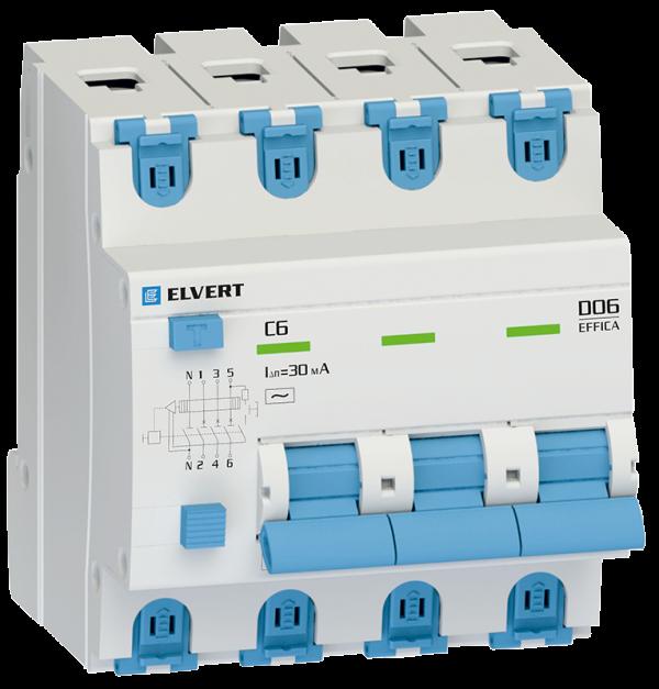 Автоматический выключатель дифф.тока D06 4р C6 100 мА электрон. тип АС ELVERT