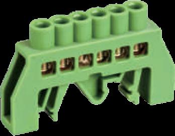 Шинка нулевая латунная универсальная 6х9мм 6 отв. Цвет зеленый