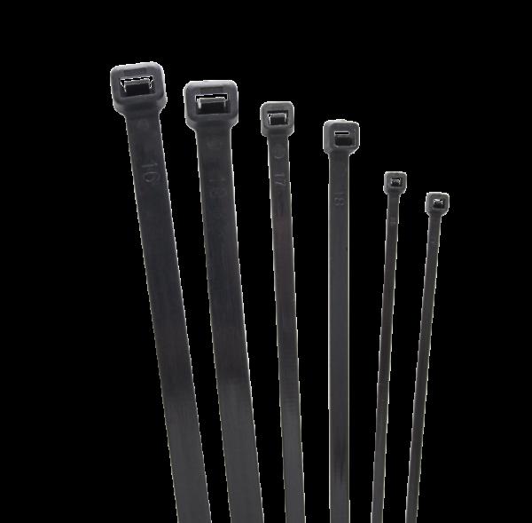 Стяжка кабельная (хомут) нейлон размер 4х200мм, цвет черный (1 пакет/100 шт.)