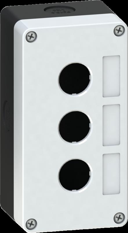 Корпус кнопочного поста пластиковый серый на 3 места PW