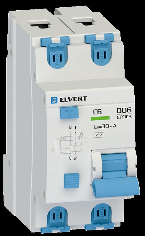 Автоматический выключатель дифф.тока D06 2р C25 100 мА электрон. тип АС ELVERT