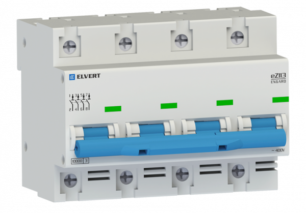 Автоматический выключатель eZ113 4Р B25 10кА ELVERT