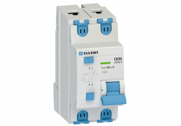Автоматический выключатель дифф.тока D06 2р C6 30 мА электрон. тип АС ELVERT