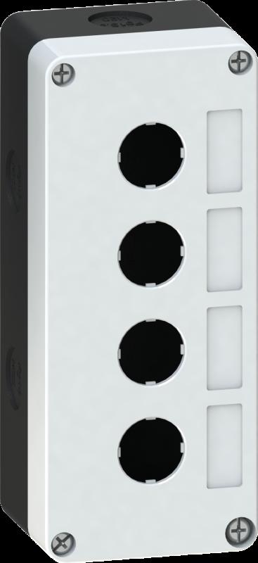 Корпус кнопочного поста пластиковый серый на 4 места PW