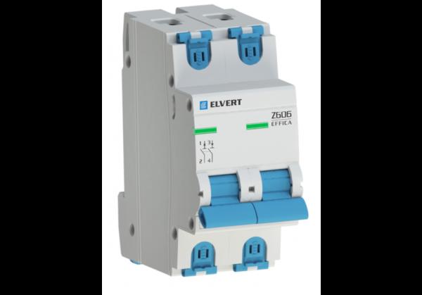 Автоматический выключатель Z606 2Р D4 6кА ELVERT