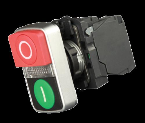 """Кнопка двойная """"ПУСК-СТОП"""" с подсветкой IP65"""