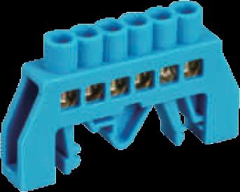 Шинка нулевая латунная универсальная 8х12мм 8 отв. Цвет синий