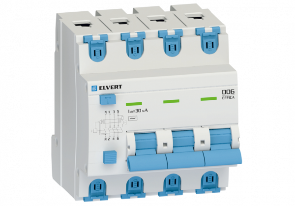 Автоматический выключатель дифф.тока D06 4р B50 30 мА электрон. тип АС ELVERT