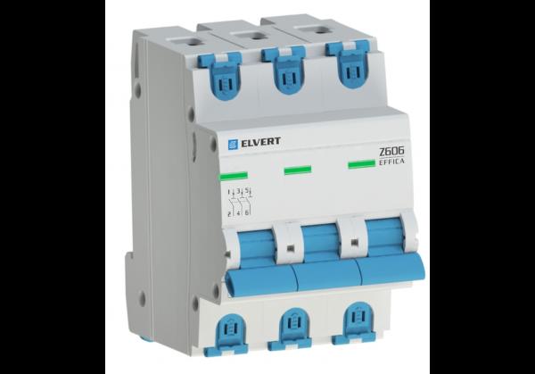 Автоматический выключатель Z606 3Р K20 6кА ELVERT