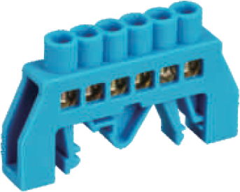 Шинка нулевая латунная универсальная 6х9мм 6 отв. Цвет синий