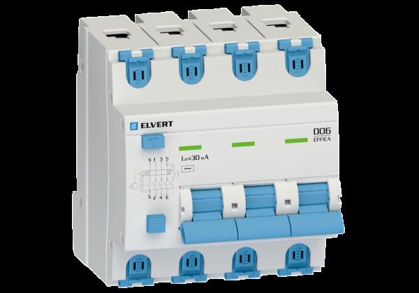 Автоматический выключатель дифф.тока D06 4р B10 30 мА электрон. тип АС ELVERT