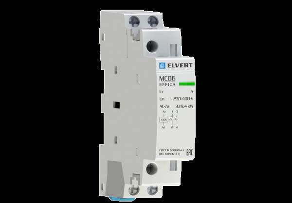 Модульный контактор MC06 1Р 20А 2НО 230B/230B ELVERT