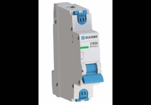 Автоматический выключатель Z606 1Р B6 6кА ELVERT