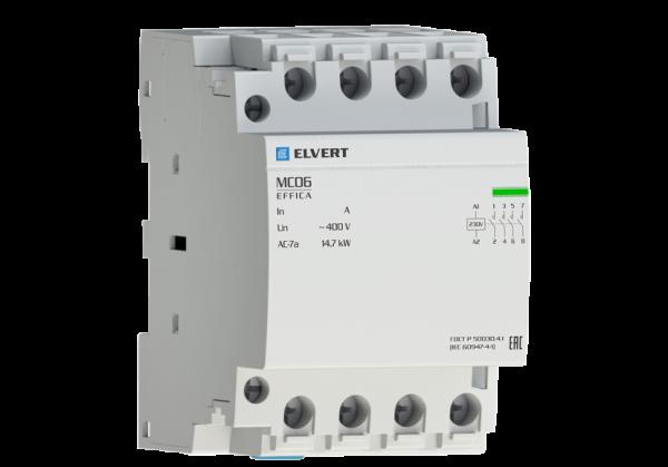 Модульный контактор MC06 3Р 63А 4НО 400B/230B ELVERT