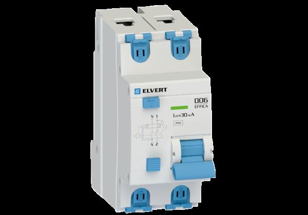 Автоматический выключатель дифф.тока D06 2р C10 30 мА электрон. тип АС ELVERT
