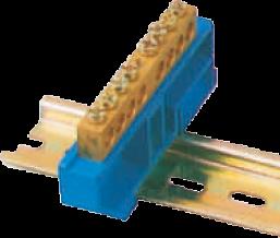 Шинка нулевая латунная на Din-опоре 6х9мм 14 отв. Цвет синий